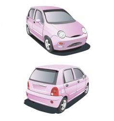 cartoon pink car vector image vector image