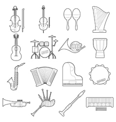 Musical instruments icons set outline style vector image