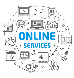 online services linear slide for the vector image vector image