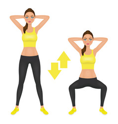 squats exercise instruction young woman make vector image vector image