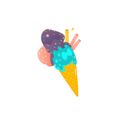 waffle cone with three scoopes of colorful ice vector image vector image