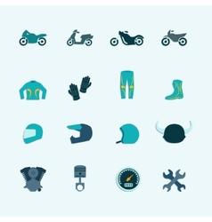 Biker icon set vector image vector image