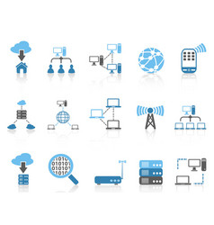 blue color series computer communication icons set vector image vector image