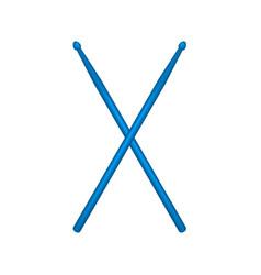 crossed pair of blue wooden drumsticks vector image