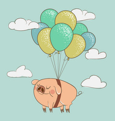 cute pig flying with balloons vector image