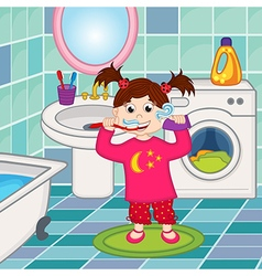 girl brushing teeth in bathroom vector image