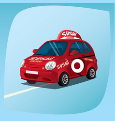 isolated sushi delivery car vector image