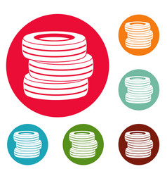 Tire fitting icons circle set vector