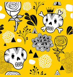 endless background with skull and roses vector image