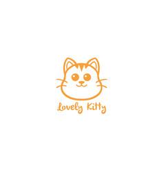 lovely kitty cute cat yellow line art logo vector image vector image