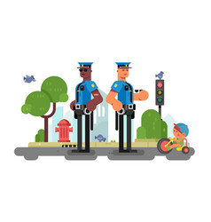 police patrol officer on city street vector image vector image