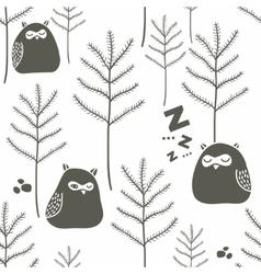 Sleeping birds in winter forest vector image