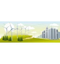 Wind turbine park vector