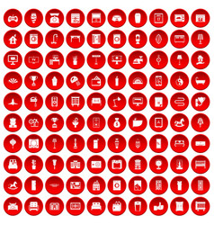 100 interior icons set red vector image