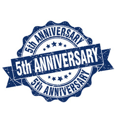 5th anniversary stamp sign seal vector image