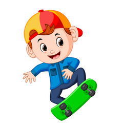 a boy skating and jumping vector image