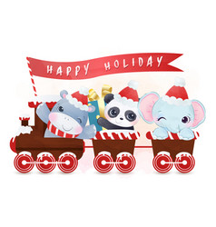 Adorable animals with winter holiday theme vector