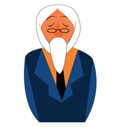 An old man with his long white beard is in his vector