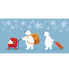 Arctic polar bear family characters travel vector