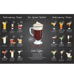 Back Drawing horisontal cocktail menu design vector