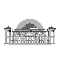 Bangka belitung capital mosque grayscale vector