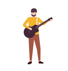 bearded man playing guitar and singing male vector image