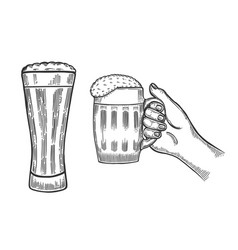beer glasses mug vector image