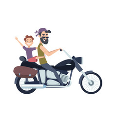 biker on motorcycle father rolls son on scooter vector image