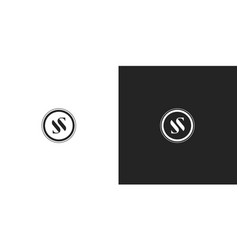 black and white premium round ss monogram logo vector image
