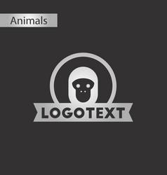 Black and white style icon monkey logo vector