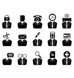 Business people with office tools icons set vector