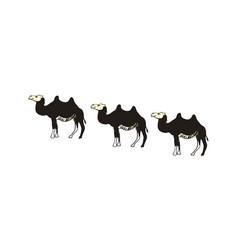 camel caravan hand drawn icon vector image