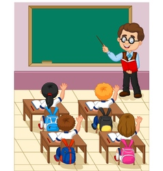 Cartoon little kid a study in the classroom vector