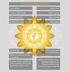 Chakras symbols with description meanings vector