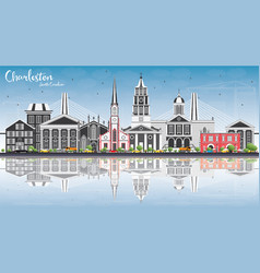 Charleston south carolina skyline with gray vector