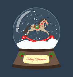 christmas snow globe with rocking horse vector image