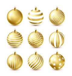christmas tree shiny golden balls set new year vector image