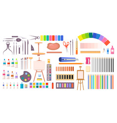 Collection of art supplies icons vector