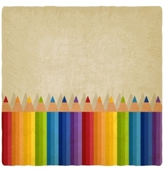 Colored rainbow pencils old background vector