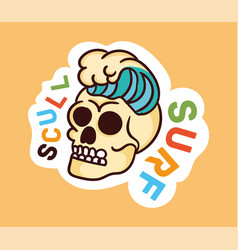 colorful dead skull sticker with scull surf vector image