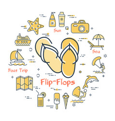 colorful icons in summer holidays - flip-flops vector image