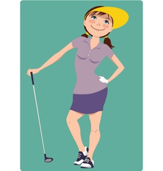 Cute cartoon golfer girl vector