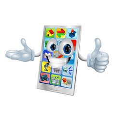 cute happy mobile phone person vector image