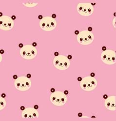 Cute panda bears seamless pattern vector