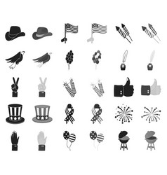 day of patriot holiday blackmonochrome icons in vector image