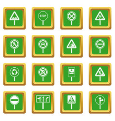 different road signs icons set green vector image