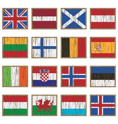distressed wooden flags vector image