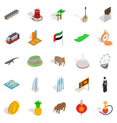 Eastern country icons set isometric style vector