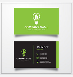 Ecology bulb icon business card template vector