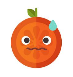Emoji - worry orange with drop of sweat isolated vector